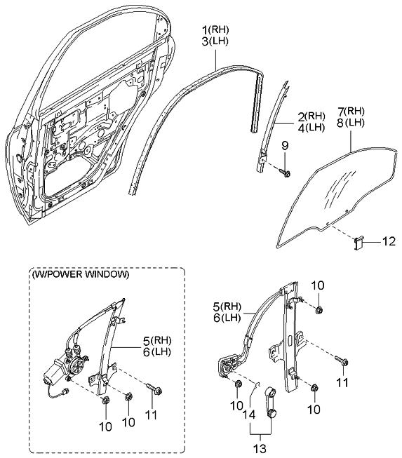 2002 Kia Spectra Sedan (New Body Style) Rear Door Window