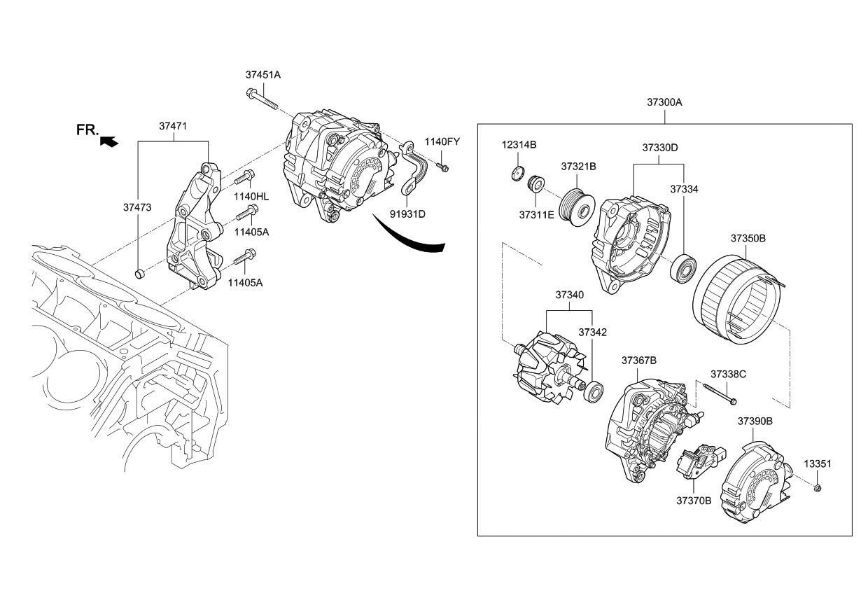 91931d2071 Genuine Kia Bracket Wiring Mounting Alternator Diagram 2018 Stinger