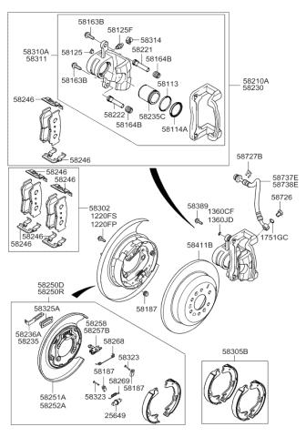 Kia 58251-2P500 Parking Brake Backing Plate