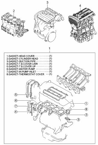 K0AH102100 - Genuine Kia ENGINE ASSEMBLY-SUBKia Parts