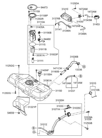 310302K500 - Genuine Kia FILLER NECK & HOSE ASSEMBLYKia Parts