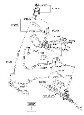 Kia 57520-1G000 Power Steering Return Hose Motors Power Steering ...
