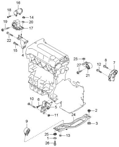 [DIAGRAM_5NL]  2004 Kia Spectra Sedan (Old Body Style) Engine & Transaxle Mounting | 2004 Kia Spectra Engine Diagram |  | Kia Parts