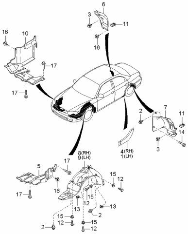 [SCHEMATICS_4US]  0K2N151826A - Genuine Kia GUARD-REAR MUD, LH | 2004 Kia Spectra Engine Diagram |  | Kia Parts